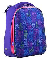 Ранец школьный жестко-каркасный для девочки H-12 Kotomaniya blue, 38*29*15 , YES, фото 1