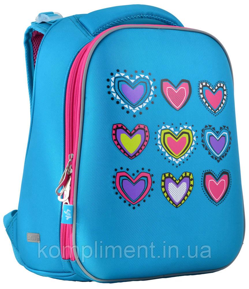 Ранец школьный жестко-каркасный для девочки H-12  Hearts turquoise, 38*29*15 , YES