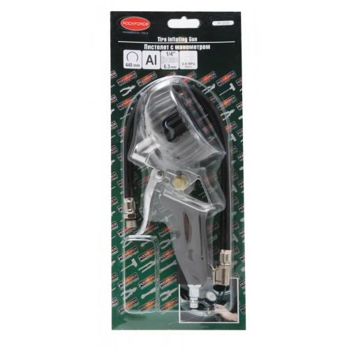 Пистолет для подкачки шин с манометром(0-16bar), в блистере