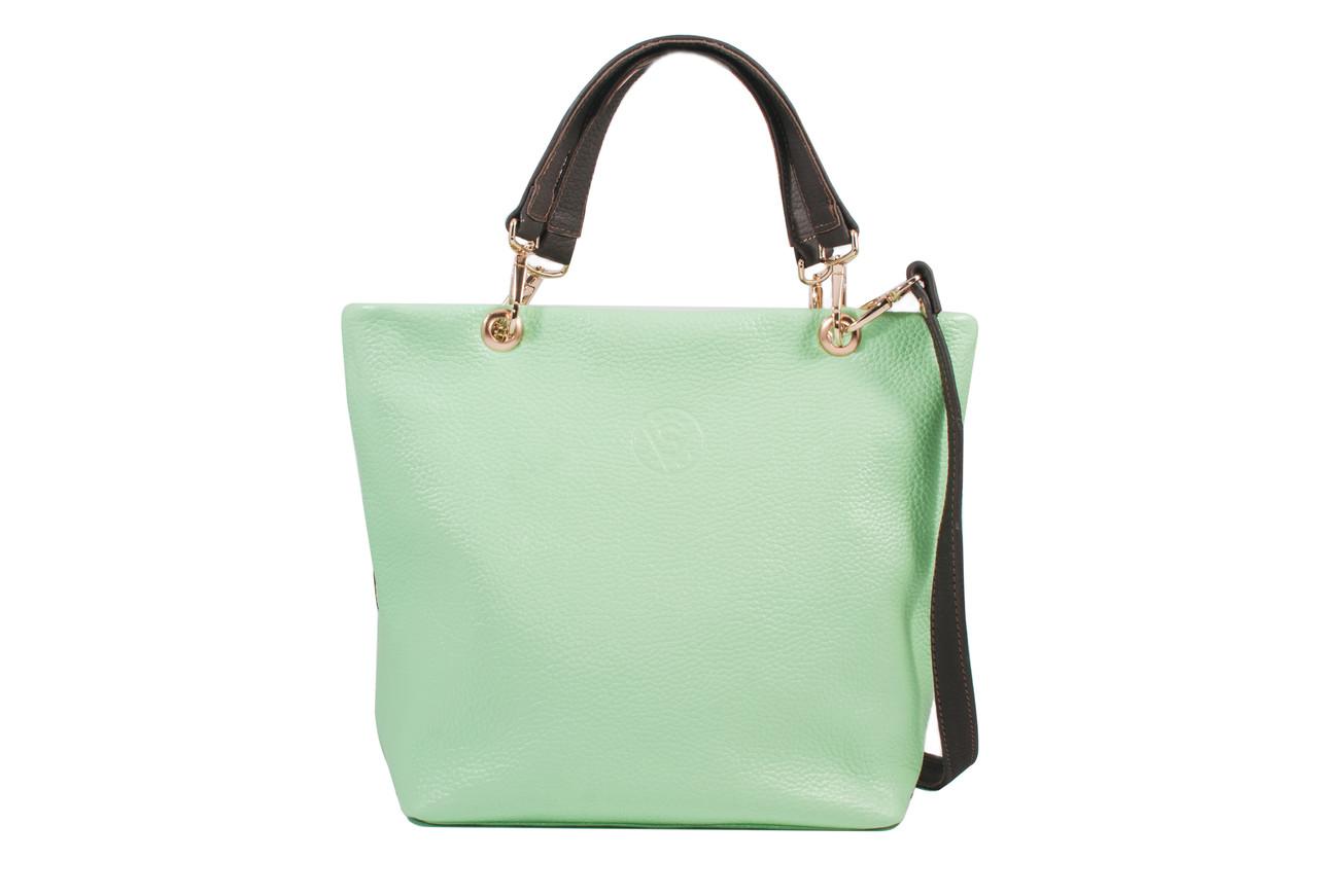 Женская сумка из натуральной кожи салатовая