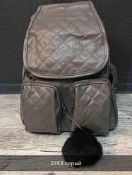 Жіночий рюкзак з хутряним бубоном (коричневий)