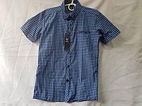 Рубашка на мальчика 12-16 лет в мелкую клетку синего цвета оптом