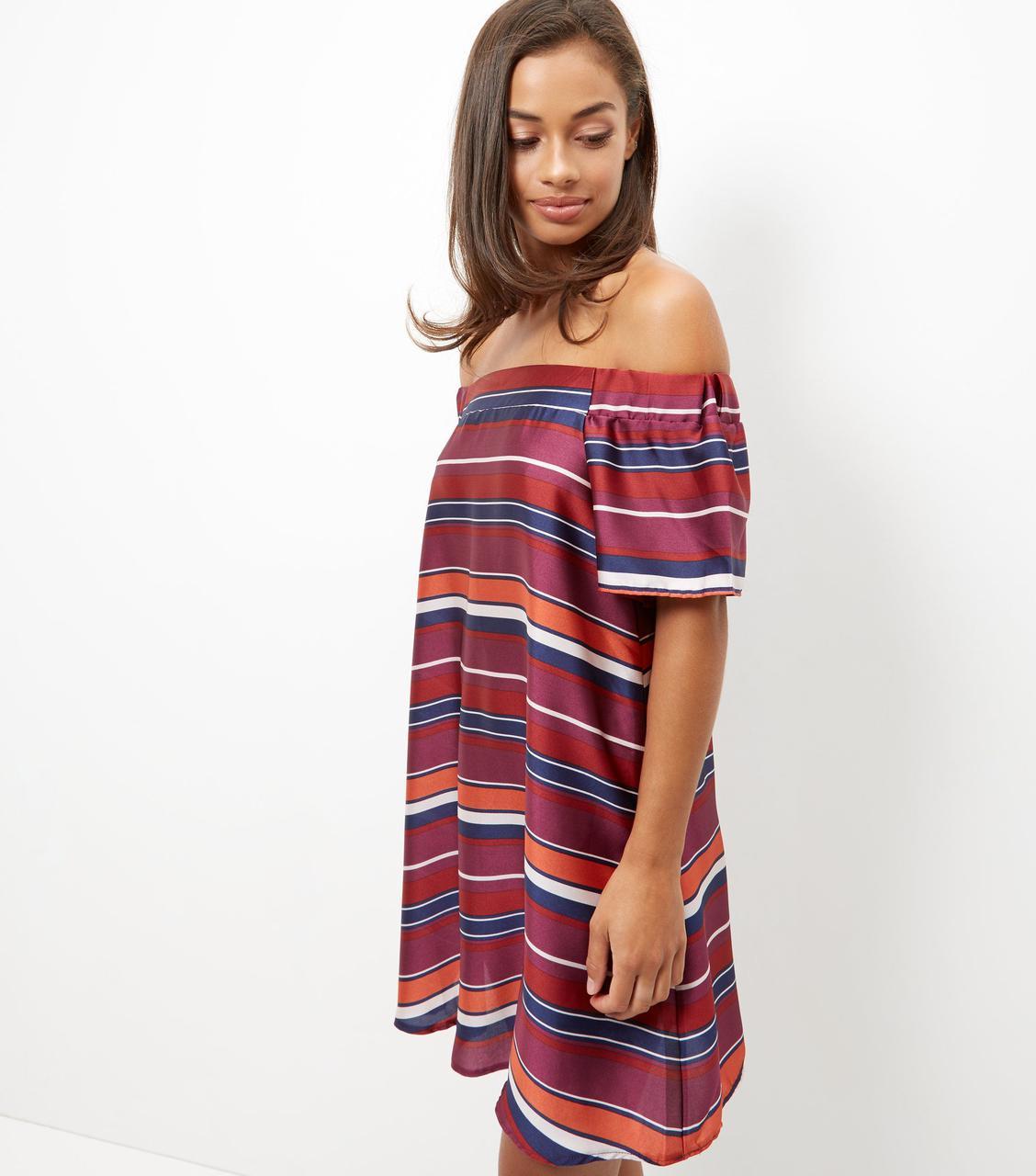 Новое платье в полоску с открытыми плечами New Look