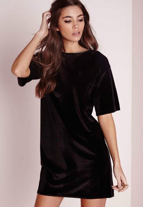 Новое черное платье-футболка Prettylittlething