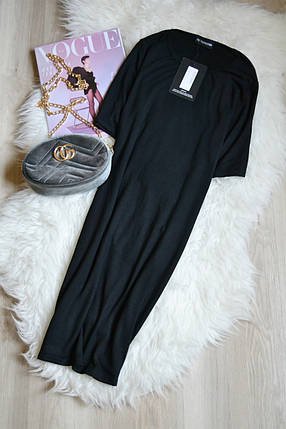 Новое черное платье-футболка Prettylittlething, фото 2