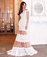 Женское платье в пол из кружева реснички на трикотажной подкладке