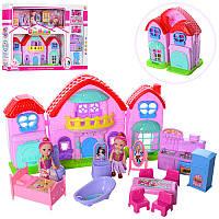Домик 8115B 20-19-14 см, муз, свет, кукла 10 см  2 шт, мебель, на бат (табл),в кор-ке59-38,5-8 см