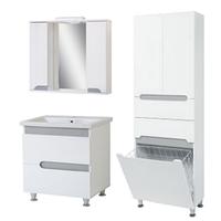 Комплект мебели для ванной комнаты Симпл-Металлик 80-30-80-04-60-11 с зеркалом и пеналом ПИК