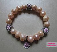 Дизайнерский браслет из розового Жемчуга, люкс фурнитурой и шарм-подвеской