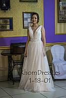 Сукня з блискучим напиленням пудрового кольору