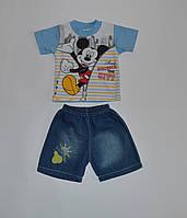 Костюм, принт Микки . Футболка+шорты белый джинс Турция 1(р), фото 1