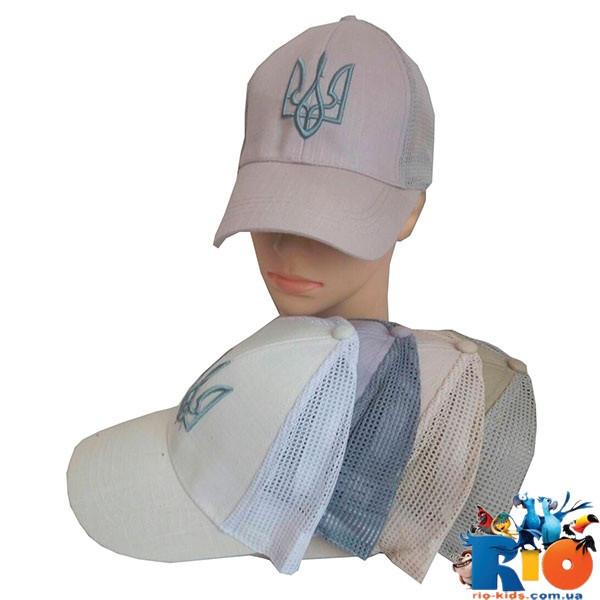 """Детская летняя  кепка (лен), с вставками """"сетка"""", для мальчика р-р 58 (5 ед в уп)"""