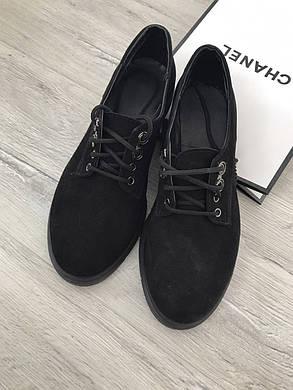 Туфли женские из натуральной кожи или замши черные 36-41 размер, фото 2