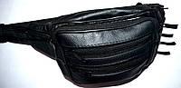 Черная сумка барсетка на пояс из искусственной кожи 20*14 см