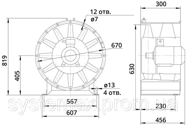 Габаритные и присоединительные размеры вентилятора В 2,3-130
