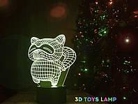 """Детский ночник - светильник """"Енот"""" 3DTOYSLAMP, фото 1"""