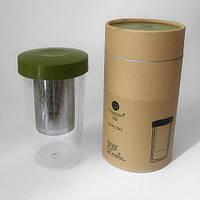 Стакан с ситечком для чая и двойными стенками 400 мл зелёный SHOWROOM 80012-G