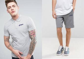 Мужской комплект поло + шорты Asics серого цвета (люкс копия)