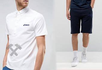 Мужской комплект поло + шорты Asics белого и синего цвета (люкс копия)