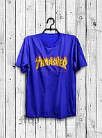 Футболка Thrasher Flame Logo | синяя | с принтом | реплика
