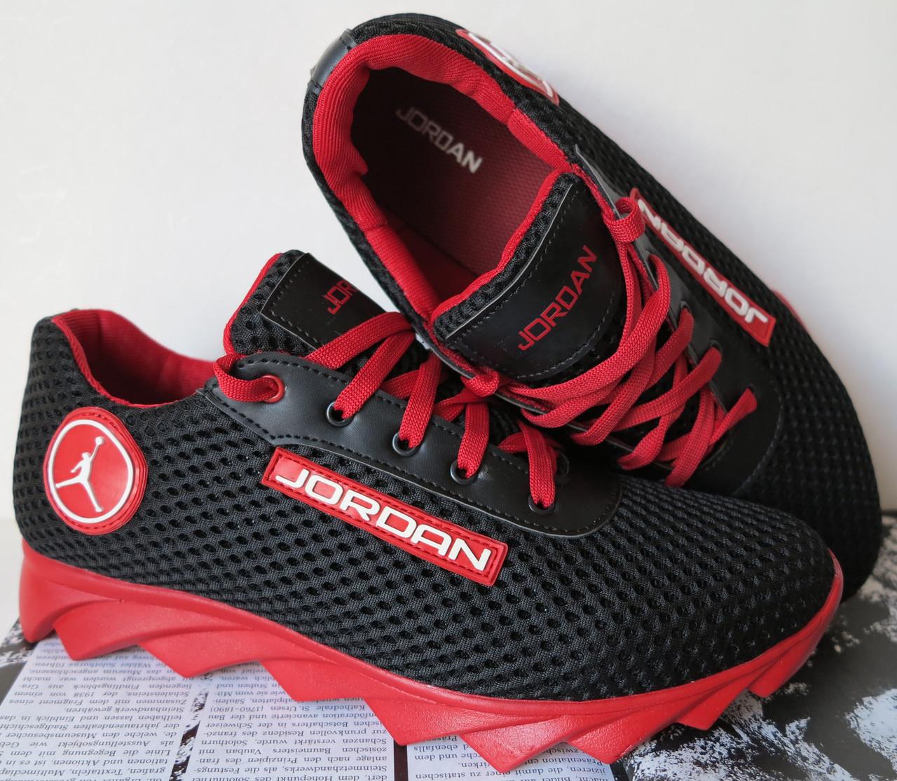 Jordan! летние черные с красным мужские или для подростка кроссовки в стиле Джордан сетка кожа