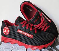 Jordan! летние черные с красным мужские или для подростка кроссовки в стиле Джордан сетка кожа , фото 1
