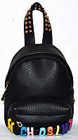 Женский черный маленький рюкзак кожзам Moschino 15*15 см