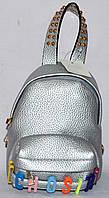 Женский серебристый маленький рюкзак кожзам Moschino 15*15 см