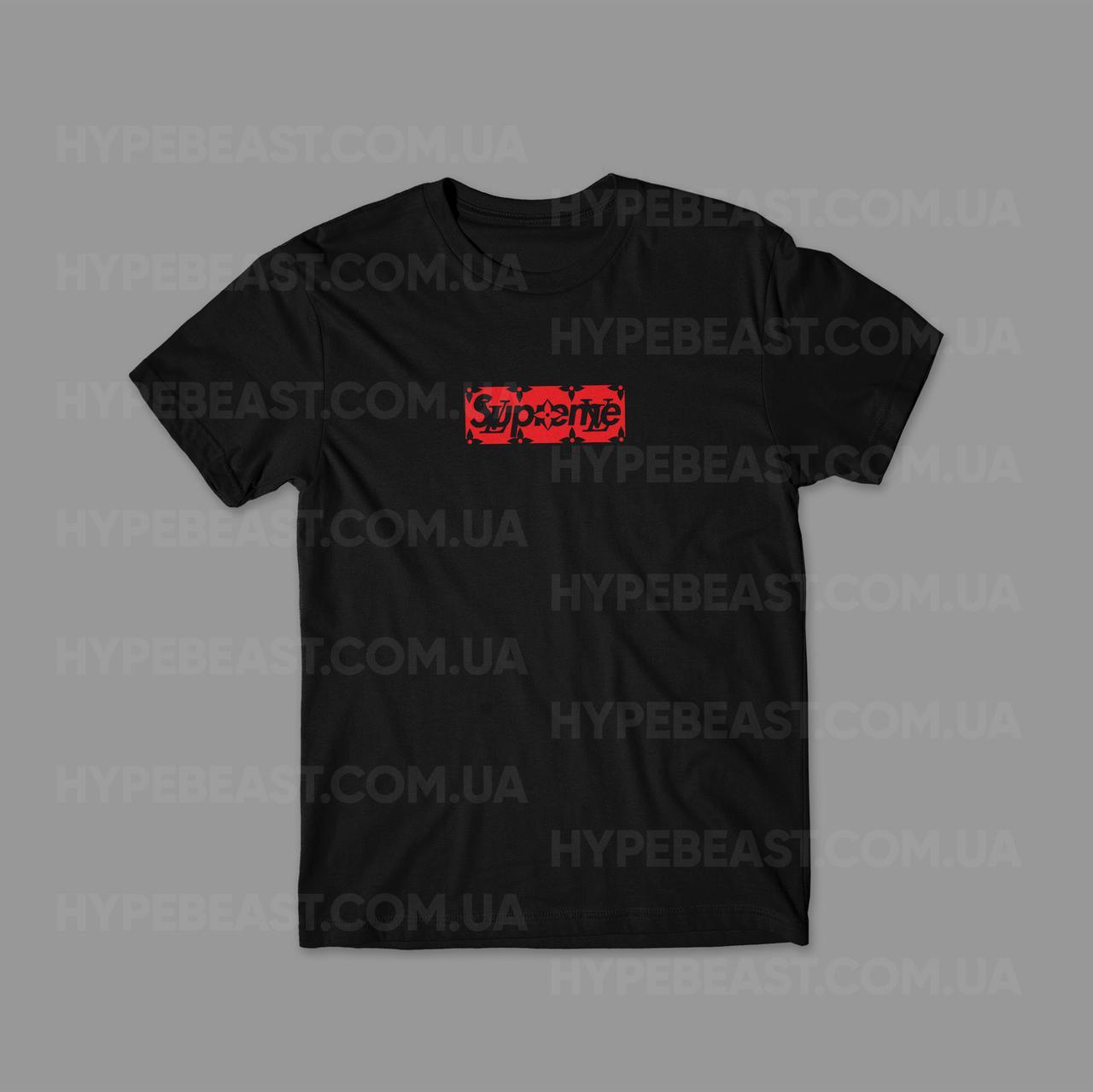338d37f56d3f Футболка Supreme x Louis Vuitton Box Logo   черная   с принтом   реплика