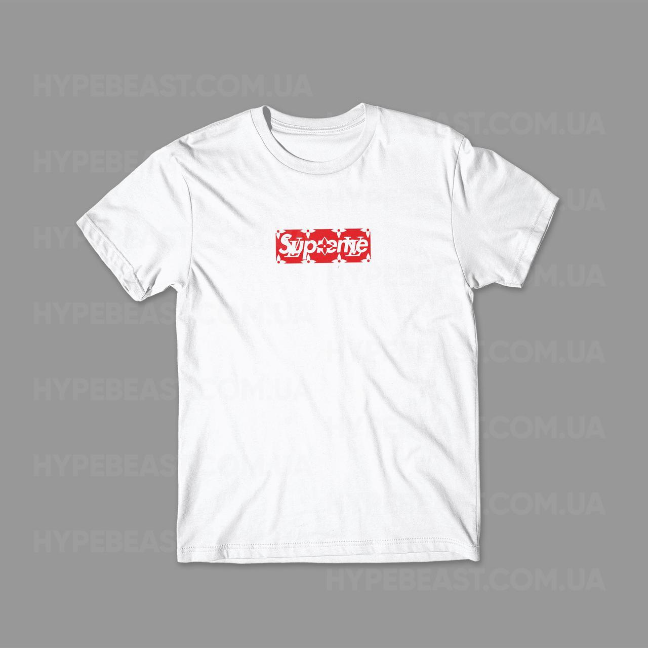 015c0300e10d Футболка Supreme x Louis Vuitton Box Logo   белая   с принтом   реплика