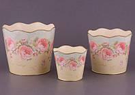 """Набор из 3 металлических кашпо для цветов """"Розы"""" 730-038"""