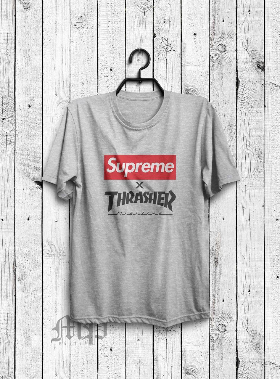 Футболка Supreme x Thrasher   серая   с принтом   реплика -  Интернет-магазин хайповой cfc528cc8df