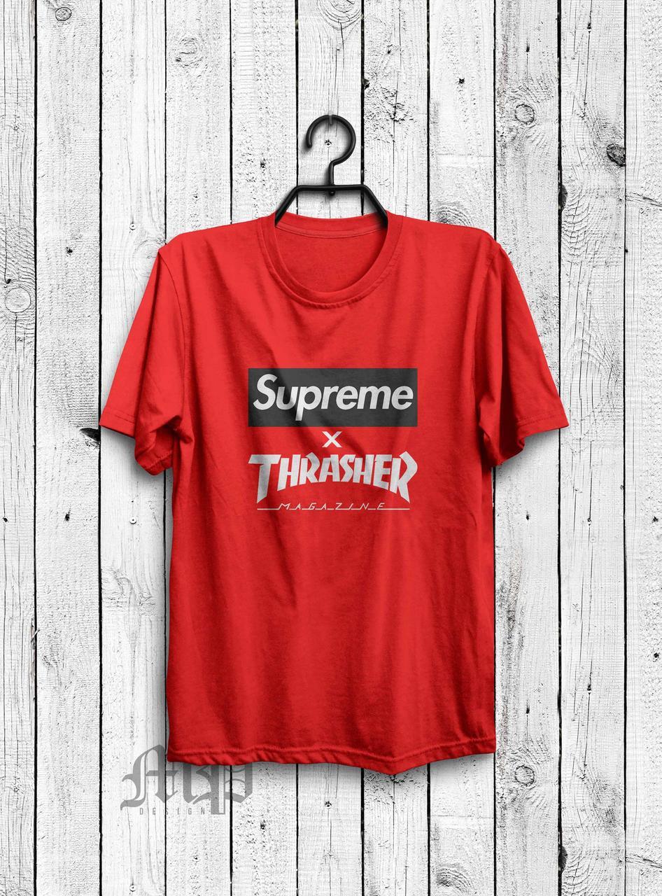 Футболка Supreme x Thrasher   красная   с принтом   реплика -  Интернет-магазин хайповой ce8e0393aed