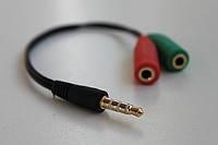 Переходник 3.5 мм штекер 4 pin на 2 гнезда 3.5 мм (микрофон + наушники) эконом