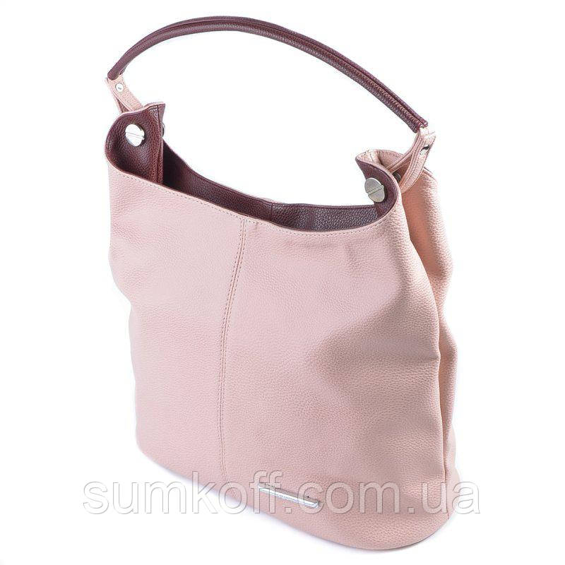 75b6c206a784 Розовая сумка шоппер М129-65/38 женский мешок с бордовой ручкой на плечо  матовая