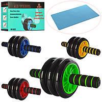 Тренажер MS 0873 (24шт) колесо для мышц пресса, 31см, диаметр 14см,4 цвета, в кор-ке, 28-10-17см