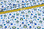 """Фланель детская """"Маленькие совы и кексы голубые"""", ширина 180 см, фото 2"""