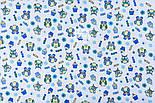 """Фланель детская """"Маленькие совы и кексы голубые"""", ширина 180 см, фото 3"""