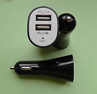 Автомобильный адаптер питания USB 5V 1A+1A чёрный
