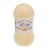 Турецкая пряжа для  вязания Alize  Cotton Baby Soft (беби котон софт)-полухлопок 13 светлый-лимон