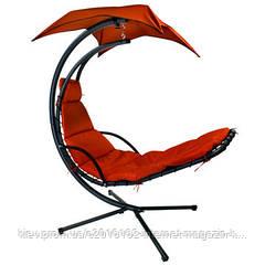 Шезлонг на пляж или дачу подвесной с крышей красный Garden4youDREAM Red  с навесом  H205cm
