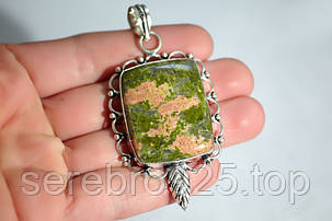 Серебряный кулон с натуральным камнем унакит, фото 2