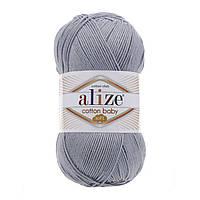 Турецкая пряжа для  вязания Alize  Cotton Baby Soft (беби котон софт)-полухлопок  21 серо-голубой