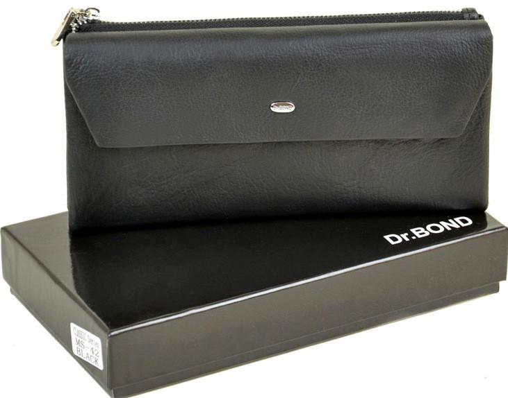 Мужской кожаный кошелек купюрник Dr.Bond на молниии с визитницей