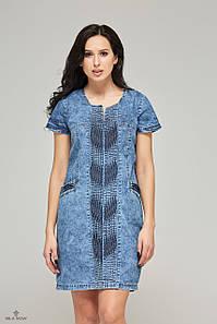 Джинсовое платье с декором из защипов синее