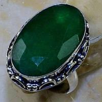 Кольцо с изумрудом в серебре. Изумрудное кольцо. Размер 18,5-19 Индия!, фото 1