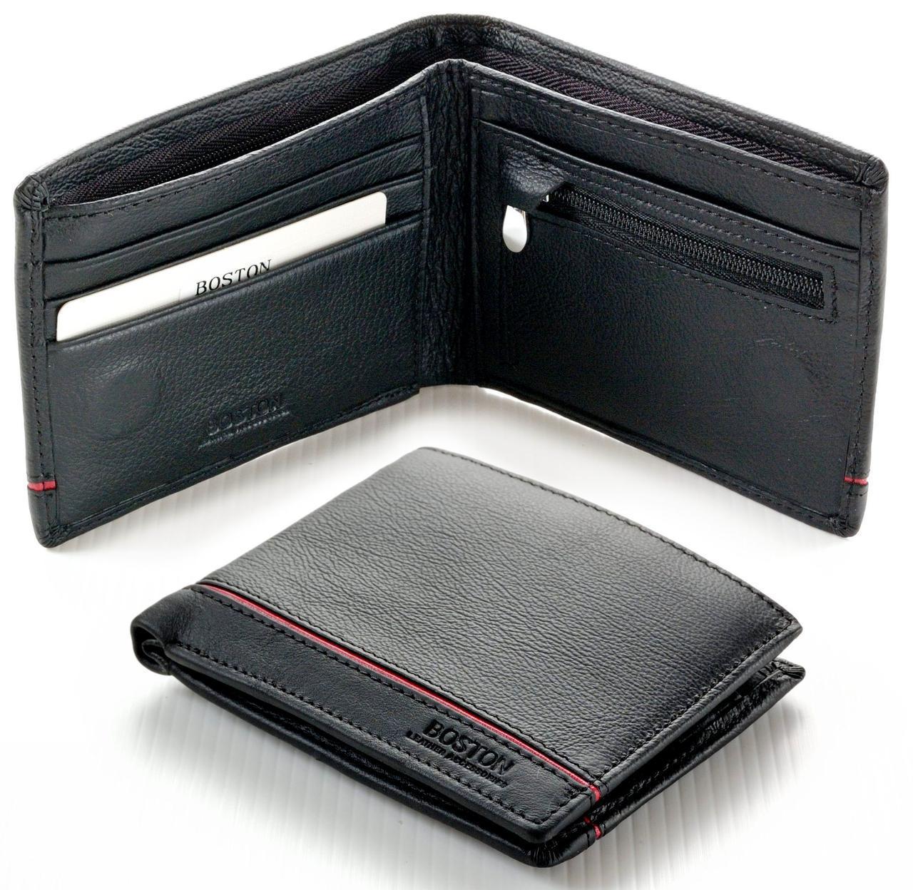 Мужской кожаный кошелек портмоне Boston на магните