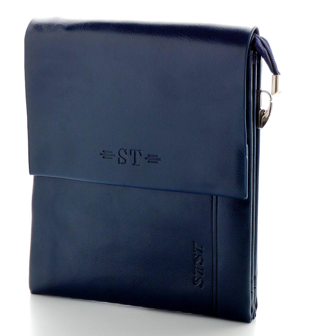 Мужская кожаная сумка ST Синего цвета