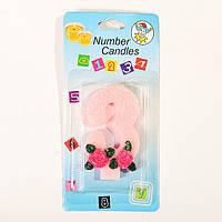 """Свеча цифра для торта """"3"""" с розочкой блестящая"""