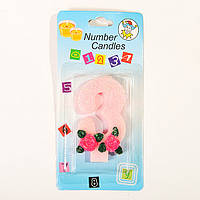 "Свеча цифра для торта ""3"" с розочкой блестящая, фото 1"